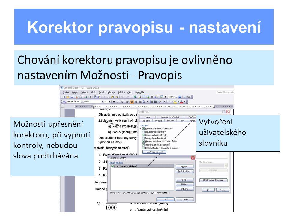 Korektor pravopisu - nastavení Chování korektoru pravopisu je ovlivněno nastavením Možnosti - Pravopis Možnosti upřesnění korektoru, při vypnutí kontroly, nebudou slova podtrhávána Vytvoření uživatelského slovníku