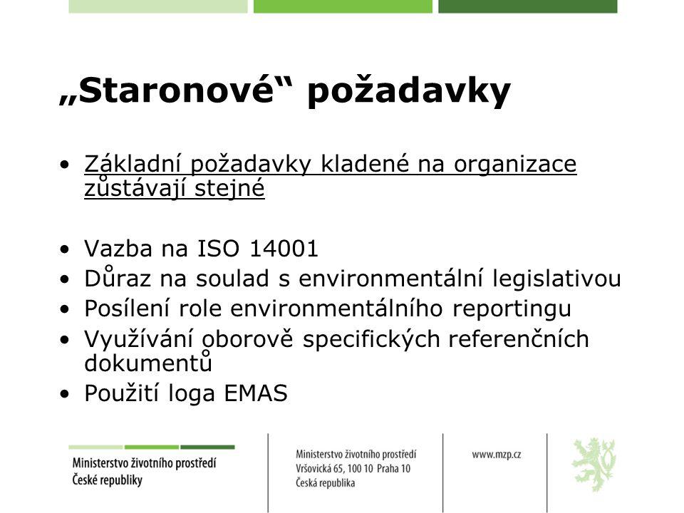 """""""Staronové požadavky Základní požadavky kladené na organizace zůstávají stejné Vazba na ISO 14001 Důraz na soulad s environmentální legislativou Posílení role environmentálního reportingu Využívání oborově specifických referenčních dokumentů Použití loga EMAS"""