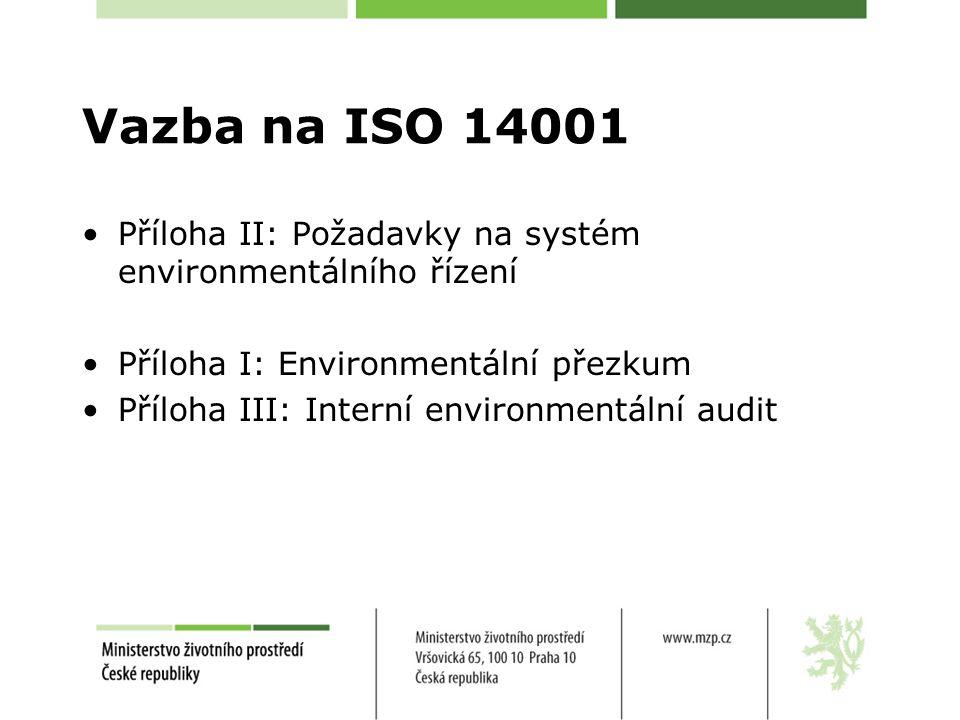Vazba na ISO 14001 Příloha II: Požadavky na systém environmentálního řízení Příloha I: Environmentální přezkum Příloha III: Interní environmentální audit