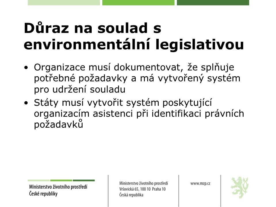 Důraz na soulad s environmentální legislativou Organizace musí dokumentovat, že splňuje potřebné požadavky a má vytvořený systém pro udržení souladu Státy musí vytvořit systém poskytující organizacím asistenci při identifikaci právních požadavků