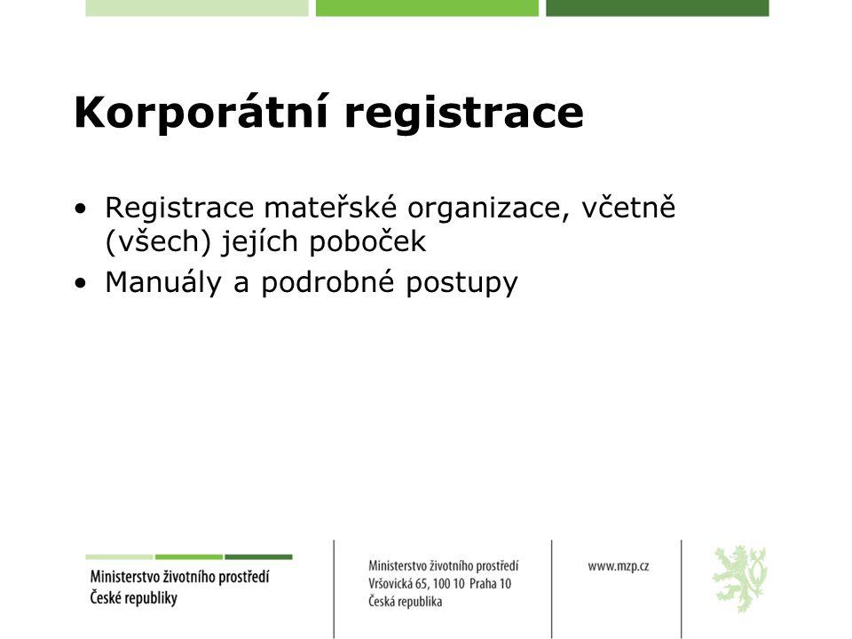 Korporátní registrace Registrace mateřské organizace, včetně (všech) jejích poboček Manuály a podrobné postupy