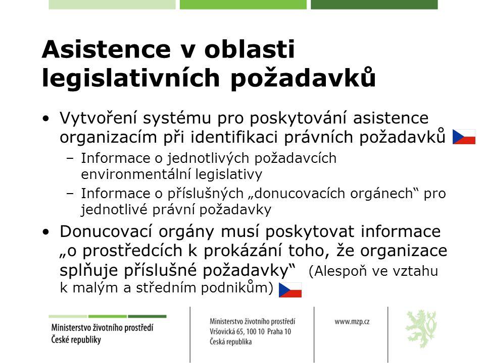 """Asistence v oblasti legislativních požadavků Vytvoření systému pro poskytování asistence organizacím při identifikaci právních požadavků –Informace o jednotlivých požadavcích environmentální legislativy –Informace o příslušných """"donucovacích orgánech pro jednotlivé právní požadavky Donucovací orgány musí poskytovat informace """"o prostředcích k prokázání toho, že organizace splňuje příslušné požadavky (Alespoň ve vztahu k malým a středním podnikům)"""