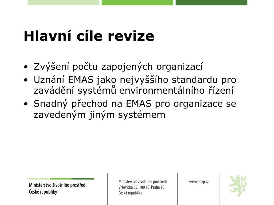 Hlavní cíle revize Zvýšení počtu zapojených organizací Uznání EMAS jako nejvyššího standardu pro zavádění systémů environmentálního řízení Snadný přechod na EMAS pro organizace se zavedeným jiným systémem
