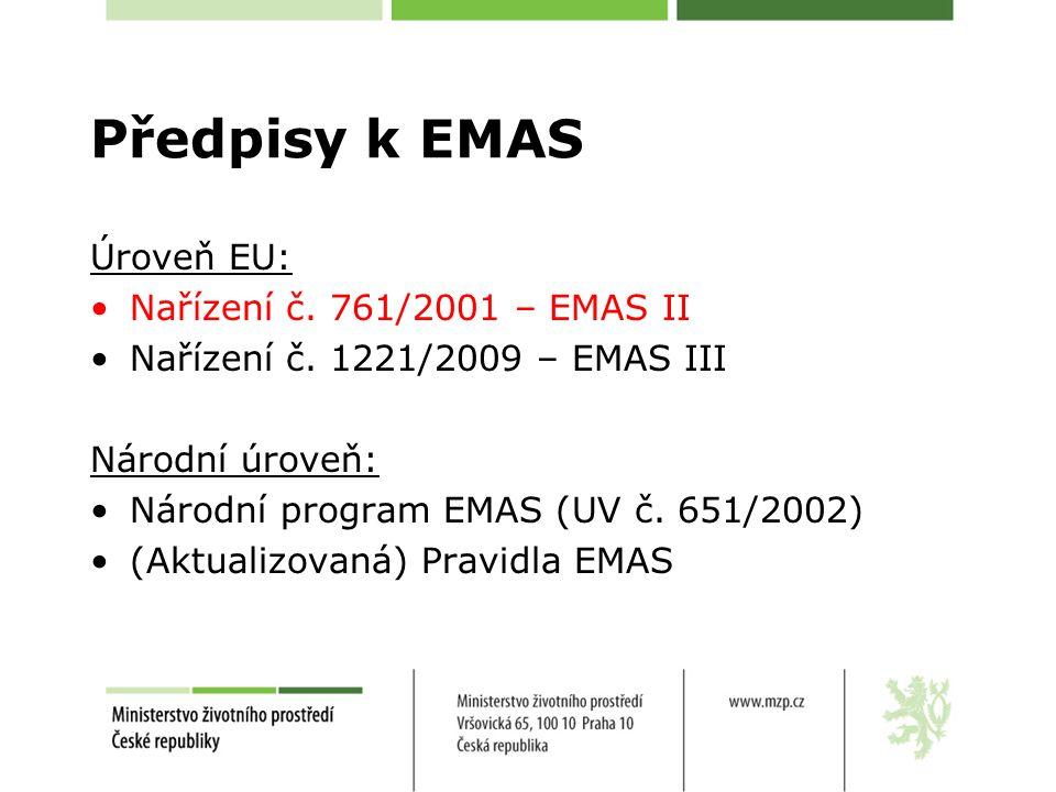 Předpisy k EMAS Úroveň EU: Nařízení č. 761/2001 – EMAS II Nařízení č.