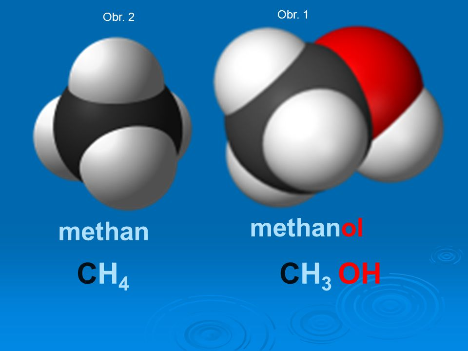 methan methanol CH4CH4 CH 3 OH Obr. 2 Obr. 1