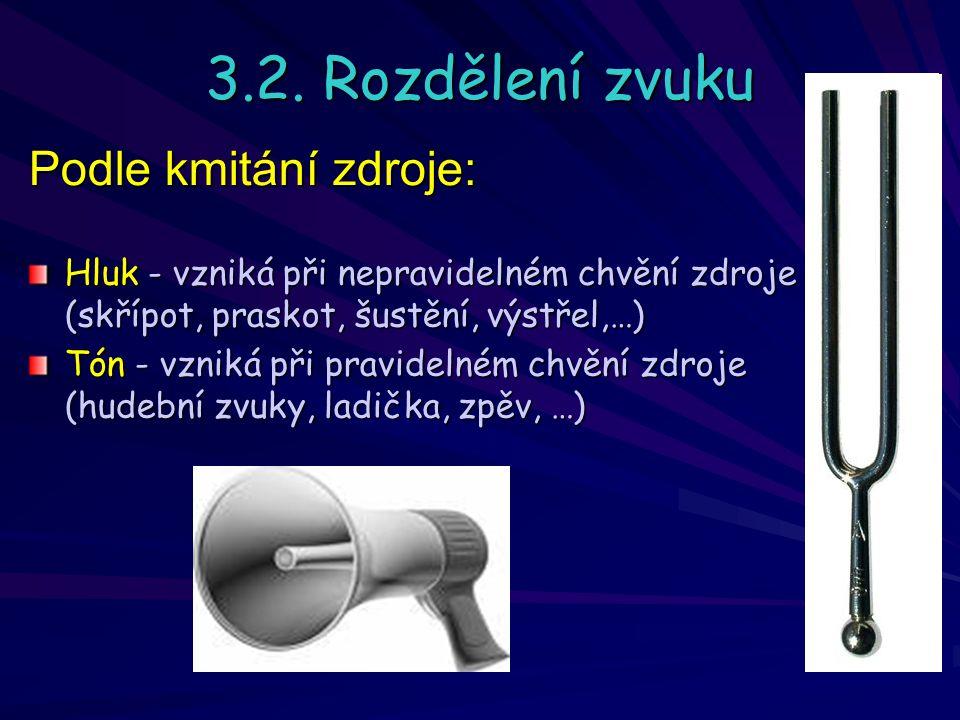 3.2. Rozdělení zvuku Hluk - vzniká při nepravidelném chvění zdroje (skřípot, praskot, šustění, výstřel,…) Tón - vzniká při pravidelném chvění zdroje (