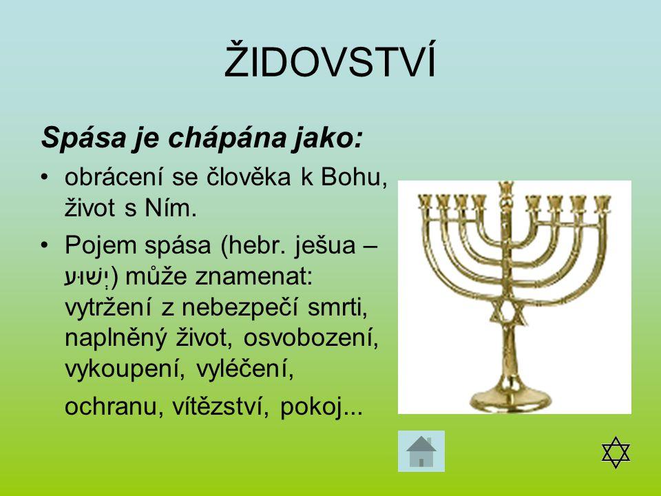 ŽIDOVSTVÍ Spása je chápána jako: obrácení se člověka k Bohu, život s Ním. Pojem spása (hebr. ješua – יְשׁוּע) může znamenat: vytržení z nebezpečí smrt