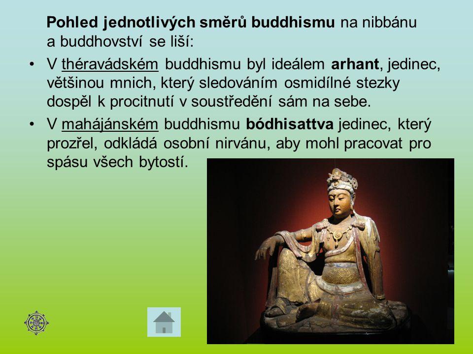 Pohled jednotlivých směrů buddhismu na nibbánu a buddhovství se liší: V théravádském buddhismu byl ideálem arhant, jedinec, většinou mnich, který sled