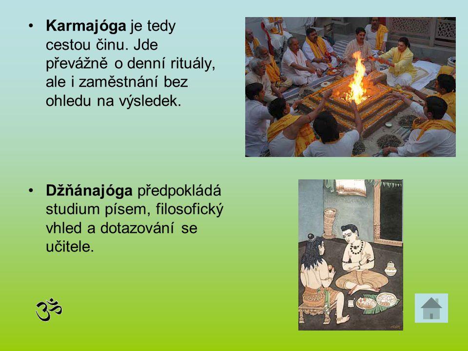 Karmajóga je tedy cestou činu. Jde převážně o denní rituály, ale i zaměstnání bez ohledu na výsledek. Džňánajóga předpokládá studium písem, filosofick