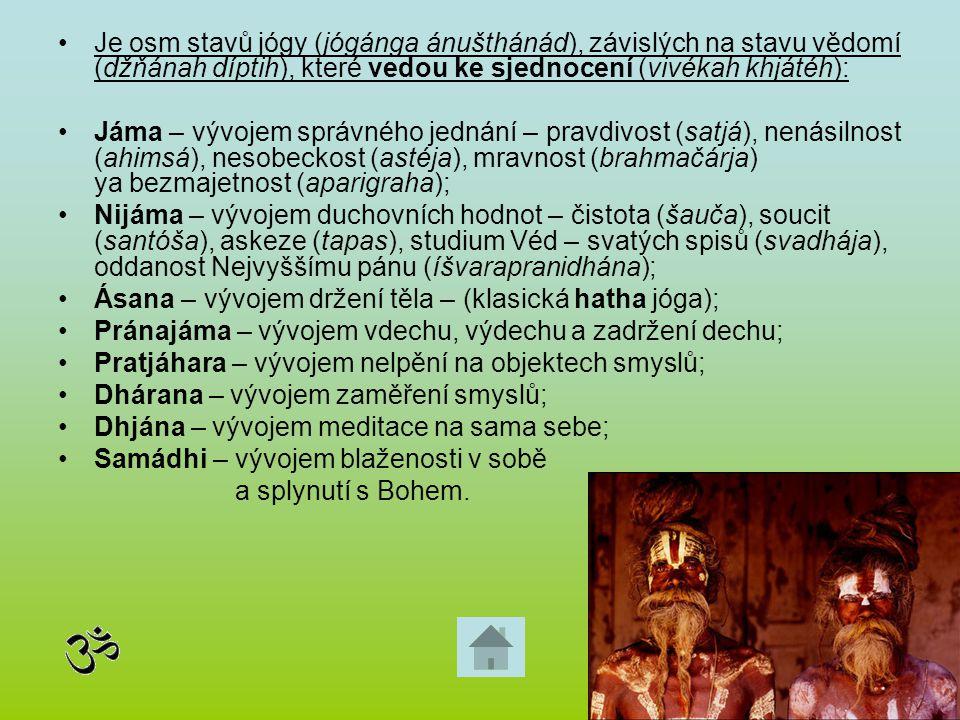 Je osm stavů jógy (jógánga ánušthánád), závislých na stavu vědomí (džňánah díptih), které vedou ke sjednocení (vivékah khjátéh): Jáma – vývojem správn