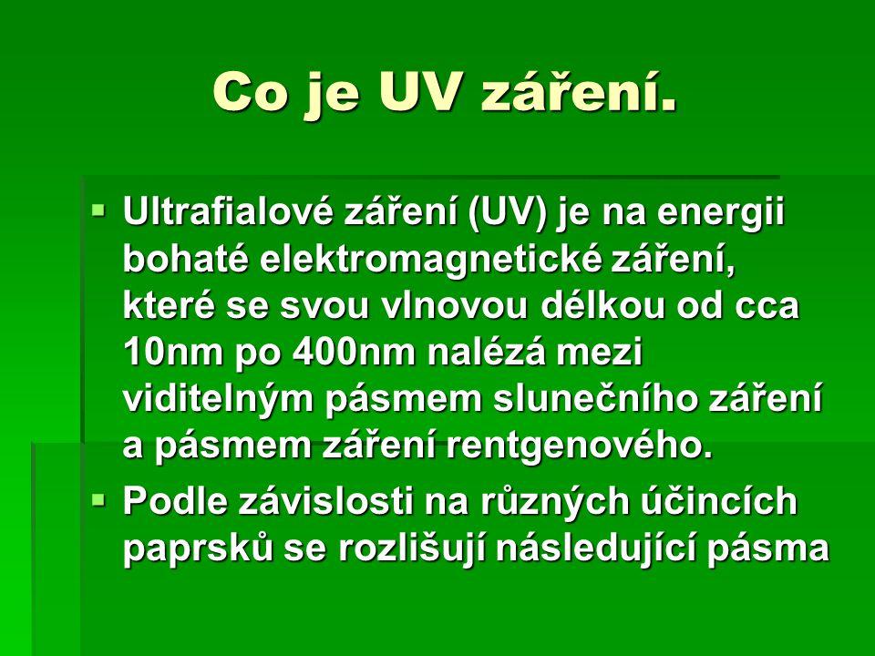 Co je UV záření. UUUUltrafialové záření (UV) je na energii bohaté elektromagnetické záření, které se svou vlnovou délkou od cca 10nm po 400nm nalé