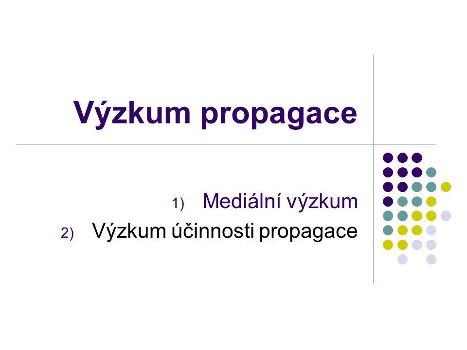 1) Mediální výzkum Cíl: - vybrat nejvhodnější médium, - zajistit efektivní zásah - nastavit frekvenci propagace…