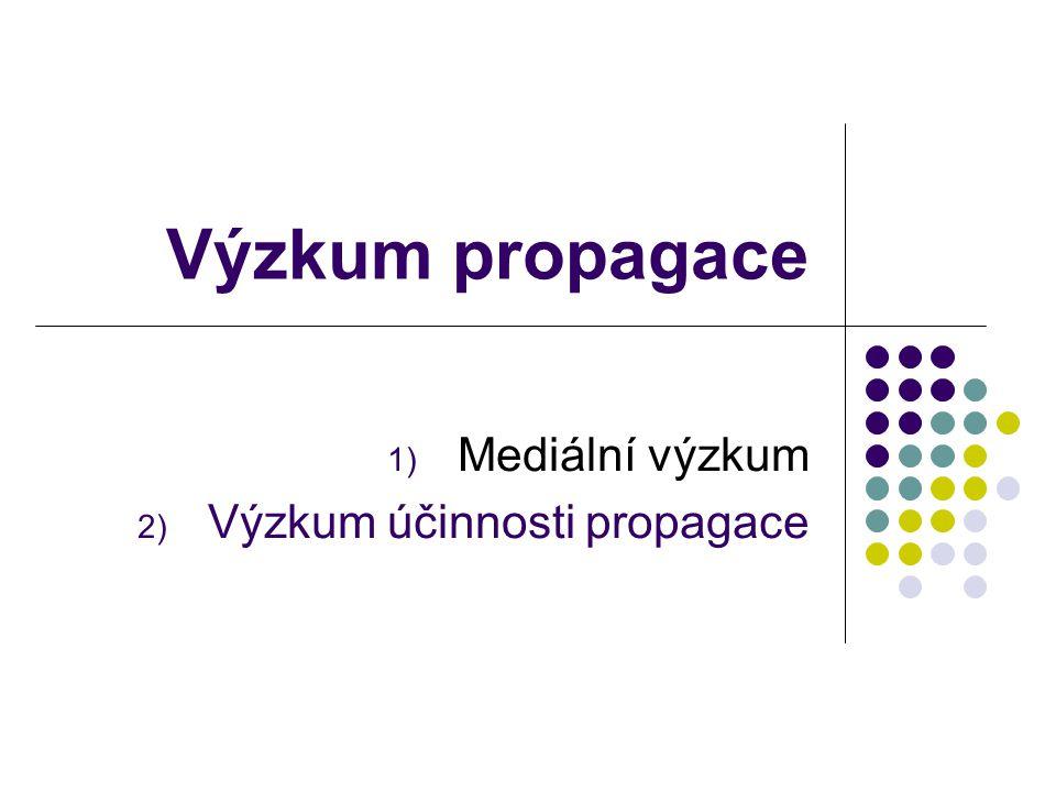 Výzkum propagace 1) Mediální výzkum 2) Výzkum účinnosti propagace