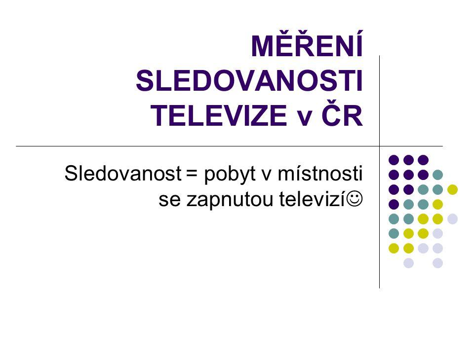 MĚŘENÍ SLEDOVANOSTI TELEVIZE v ČR Sledovanost = pobyt v místnosti se zapnutou televizí