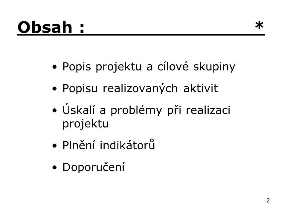 2 Obsah : * Popis projektu a cílové skupiny Popisu realizovaných aktivit Úskalí a problémy při realizaci projektu Plnění indikátorů Doporučení