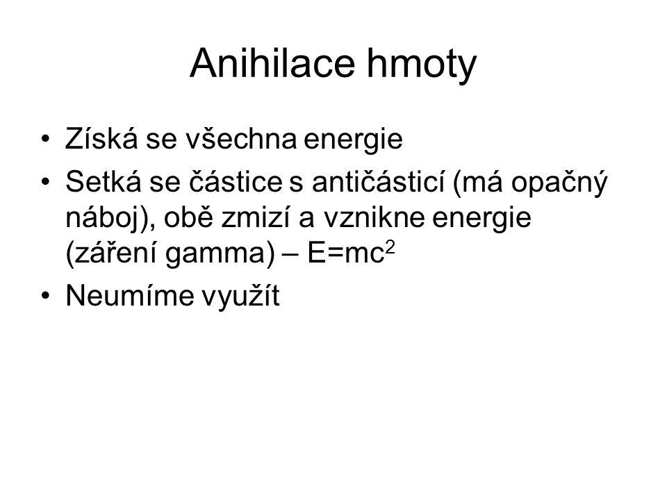Anihilace hmoty Získá se všechna energie Setká se částice s antičásticí (má opačný náboj), obě zmizí a vznikne energie (záření gamma) – E=mc 2 Neumíme využít