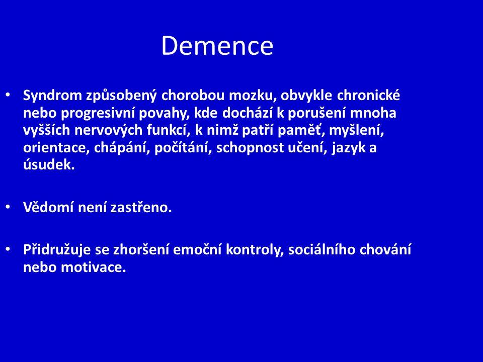 Demence Syndrom způsobený chorobou mozku, obvykle chronické nebo progresivní povahy, kde dochází k porušení mnoha vyšších nervových funkcí, k nimž pat