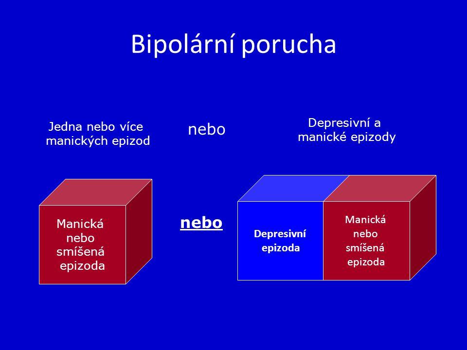 Bipolární porucha Depresivní epizoda Manická nebo smíšená epizoda Manická nebo smíšená epizoda Jedna nebo více manických epizod nebo Depresivní a mani