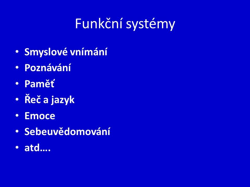 Funkční systémy Smyslové vnímání Poznávání Paměť Řeč a jazyk Emoce Sebeuvědomování atd….