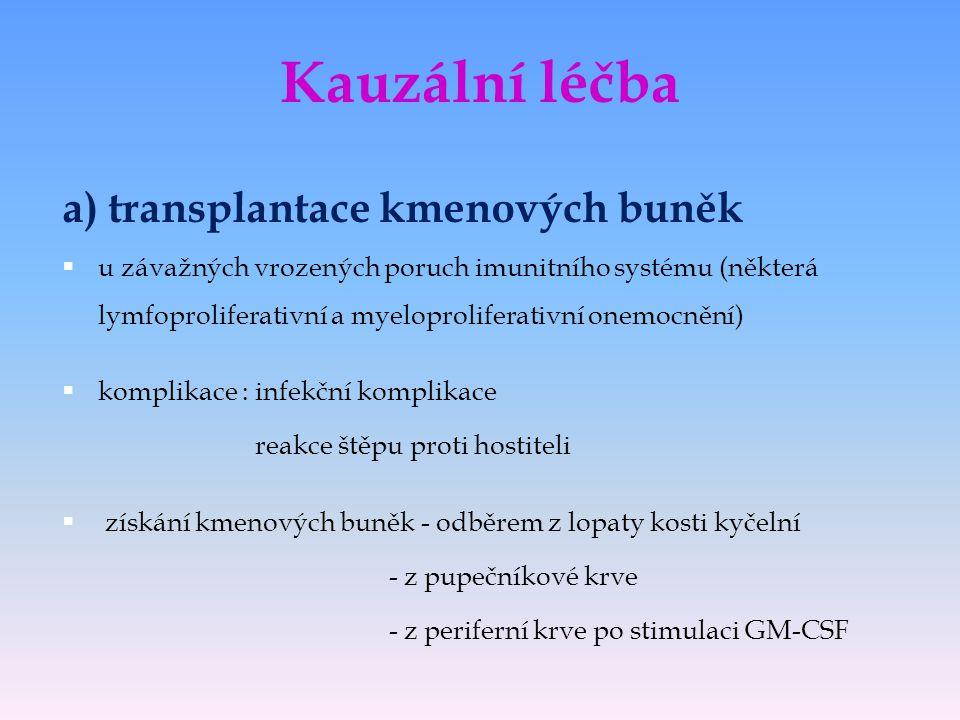 Kauzální léčba a) transplantace kmenových buněk  u závažných vrozených poruch imunitního systému (některá lymfoproliferativní a myeloproliferativní o