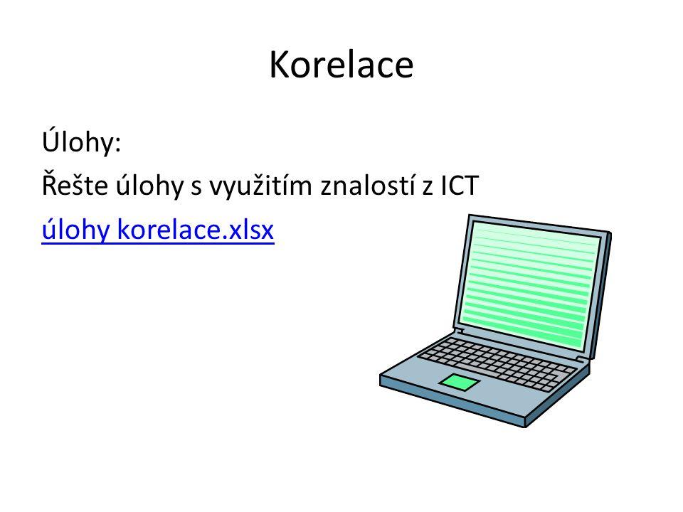 Korelace Úlohy: Řešte úlohy s využitím znalostí z ICT úlohy korelace.xlsx