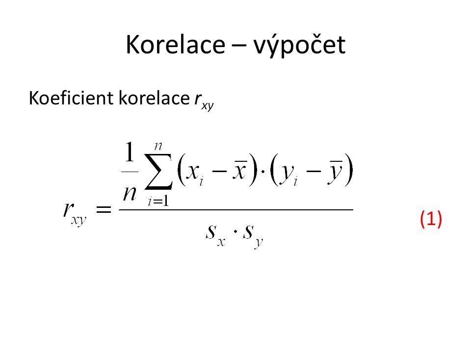 Korelace – výpočet 1.Vypočítejte aritmetické průměry 2.Vypočítejte směrodatné odchylky 3.Vypočítejte 4.Vypočtěte ze vzorce (2) hodnotu r xy 5.Pro výpočet ze vzorce (1) využijte tabulkový kalkulátor