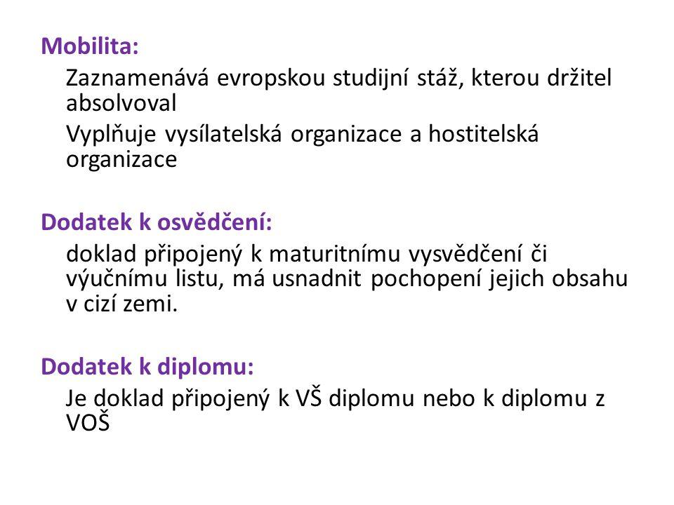 Mobilita: Zaznamenává evropskou studijní stáž, kterou držitel absolvoval Vyplňuje vysílatelská organizace a hostitelská organizace Dodatek k osvědčení