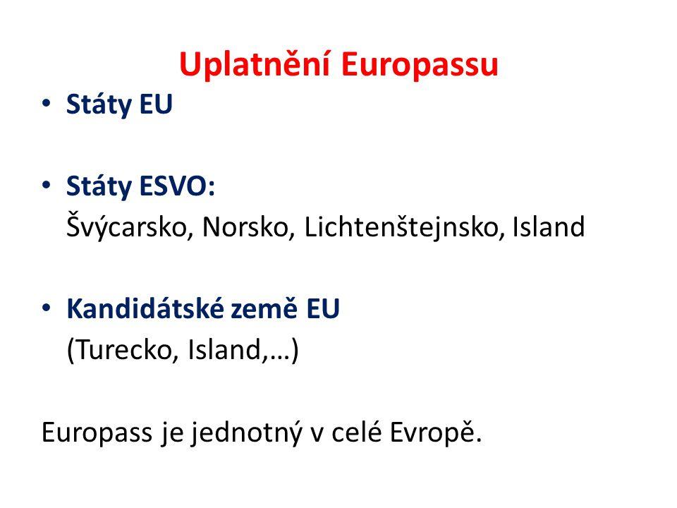 Uplatnění Europassu Státy EU Státy ESVO: Švýcarsko, Norsko, Lichtenštejnsko, Island Kandidátské země EU (Turecko, Island,…) Europass je jednotný v celé Evropě.