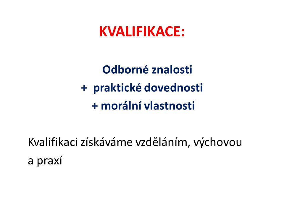 KVALIFIKACE: Odborné znalosti + praktické dovednosti + morální vlastnosti Kvalifikaci získáváme vzděláním, výchovou a praxí