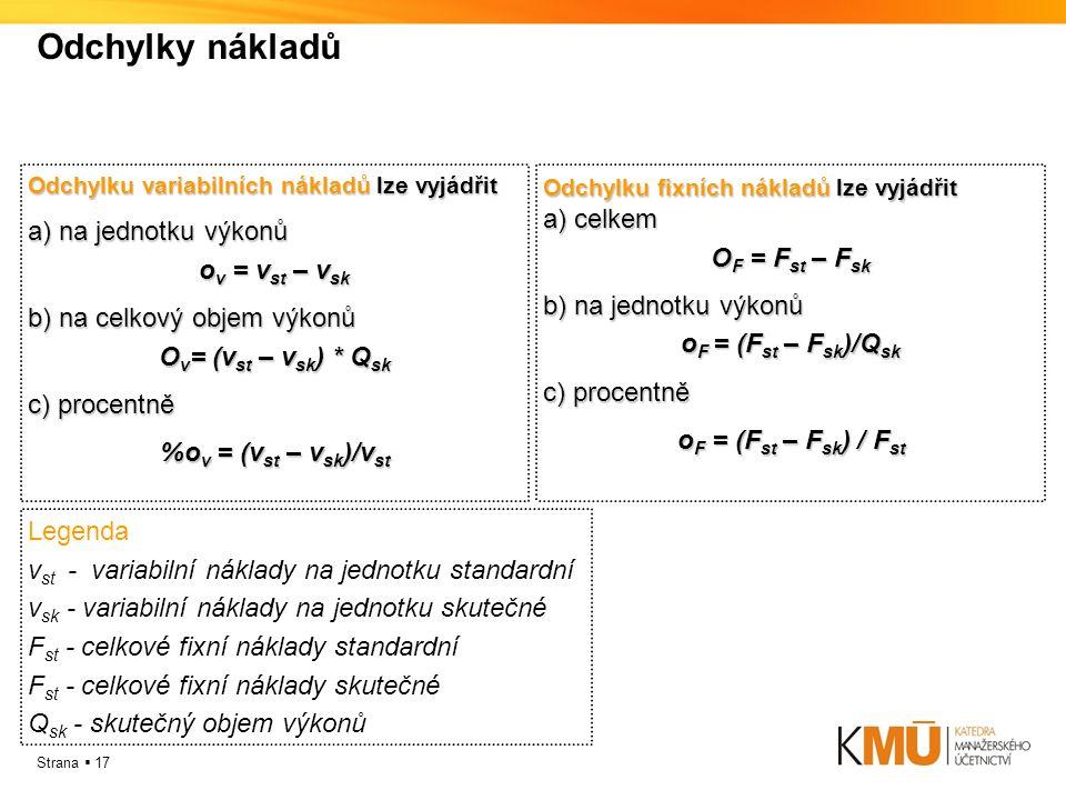 Strana  17 Odchylky nákladů Odchylku variabilních nákladů lze vyjádřit a) na jednotku výkonů o v = v st – v sk b) na celkový objem výkonů O v = (v st – v sk ) * Q sk c) procentně %o v = (v st – v sk )/v st Odchylku fixních nákladů lze vyjádřit a) celkem O F = F st – F sk b) na jednotku výkonů o F = (F st – F sk )/Q sk c) procentně o F = (F st – F sk ) / F st Legenda v st - variabilní náklady na jednotku standardní v sk - variabilní náklady na jednotku skutečné F st - celkové fixní náklady standardní F st - celkové fixní náklady skutečné Q sk - skutečný objem výkonů
