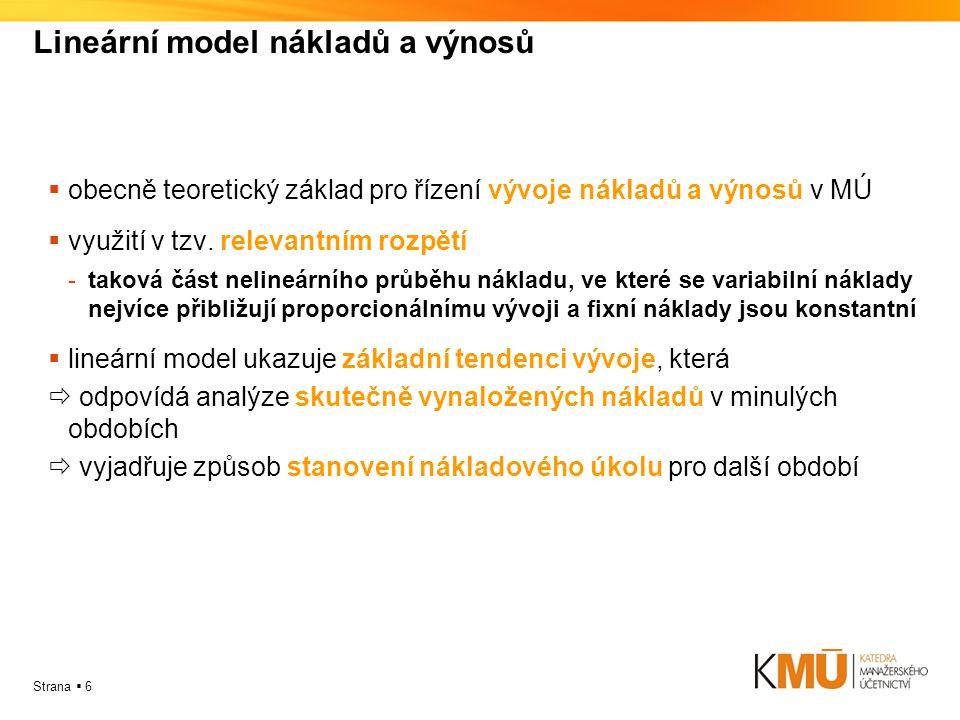 Strana  6 Lineární model nákladů a výnosů oobecně teoretický základ pro řízení vývoje nákladů a výnosů v MÚ vvyužití v tzv.