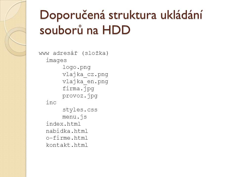 Doporučená struktura ukládání souborů na HDD www adresář (složka) images logo.png vlajka_cz.png vlajka_en.png firma.jpg provoz.jpg inc styles.css menu.js index.html nabidka.html o-firme.html kontakt.html