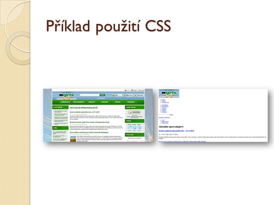 Příklad použití CSS