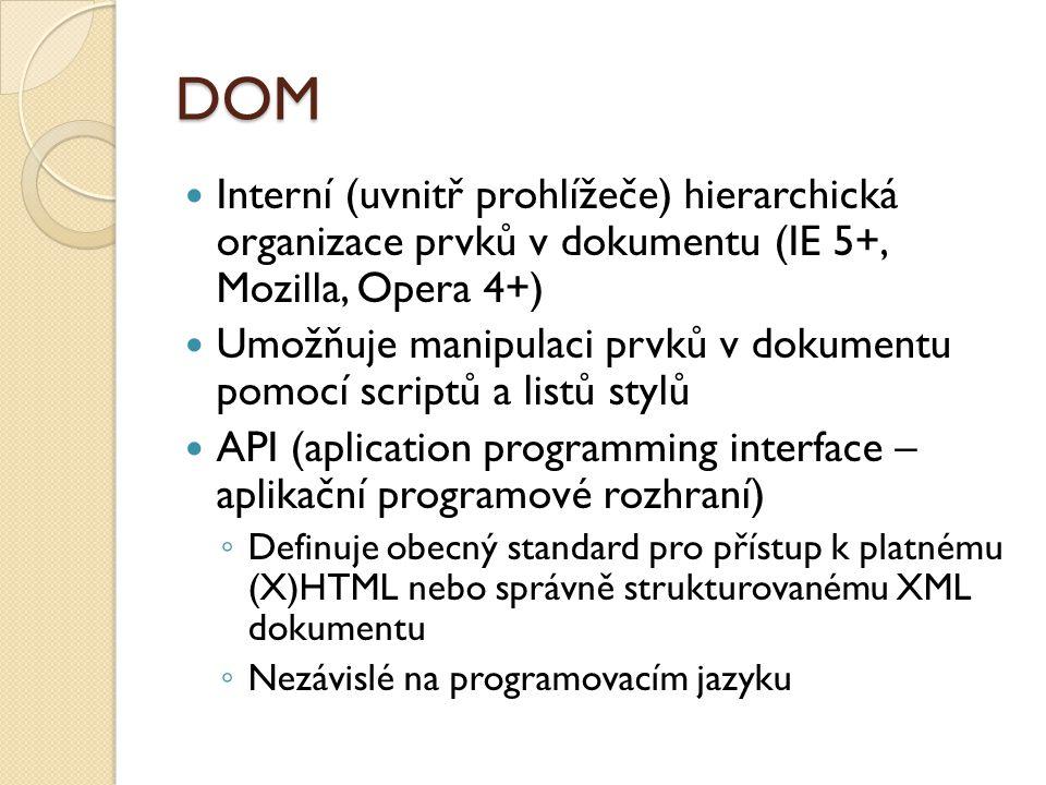 DOM Interní (uvnitř prohlížeče) hierarchická organizace prvků v dokumentu (IE 5+, Mozilla, Opera 4+) Umožňuje manipulaci prvků v dokumentu pomocí scriptů a listů stylů API (aplication programming interface – aplikační programové rozhraní) ◦ Definuje obecný standard pro přístup k platnému (X)HTML nebo správně strukturovanému XML dokumentu ◦ Nezávislé na programovacím jazyku