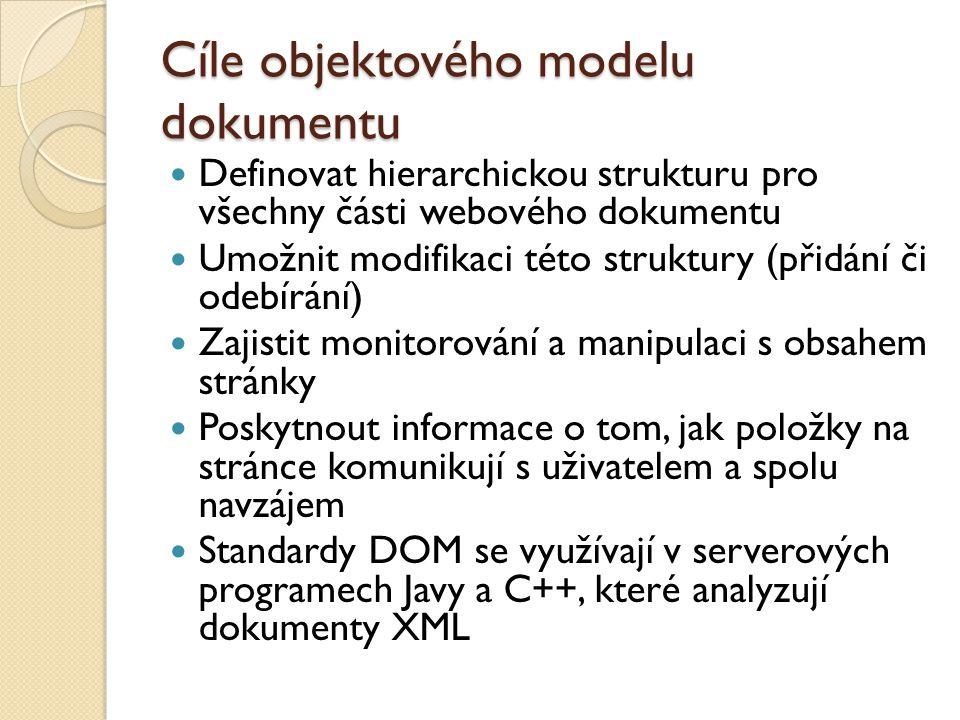 Cíle objektového modelu dokumentu Definovat hierarchickou strukturu pro všechny části webového dokumentu Umožnit modifikaci této struktury (přidání či odebírání) Zajistit monitorování a manipulaci s obsahem stránky Poskytnout informace o tom, jak položky na stránce komunikují s uživatelem a spolu navzájem Standardy DOM se využívají v serverových programech Javy a C++, které analyzují dokumenty XML