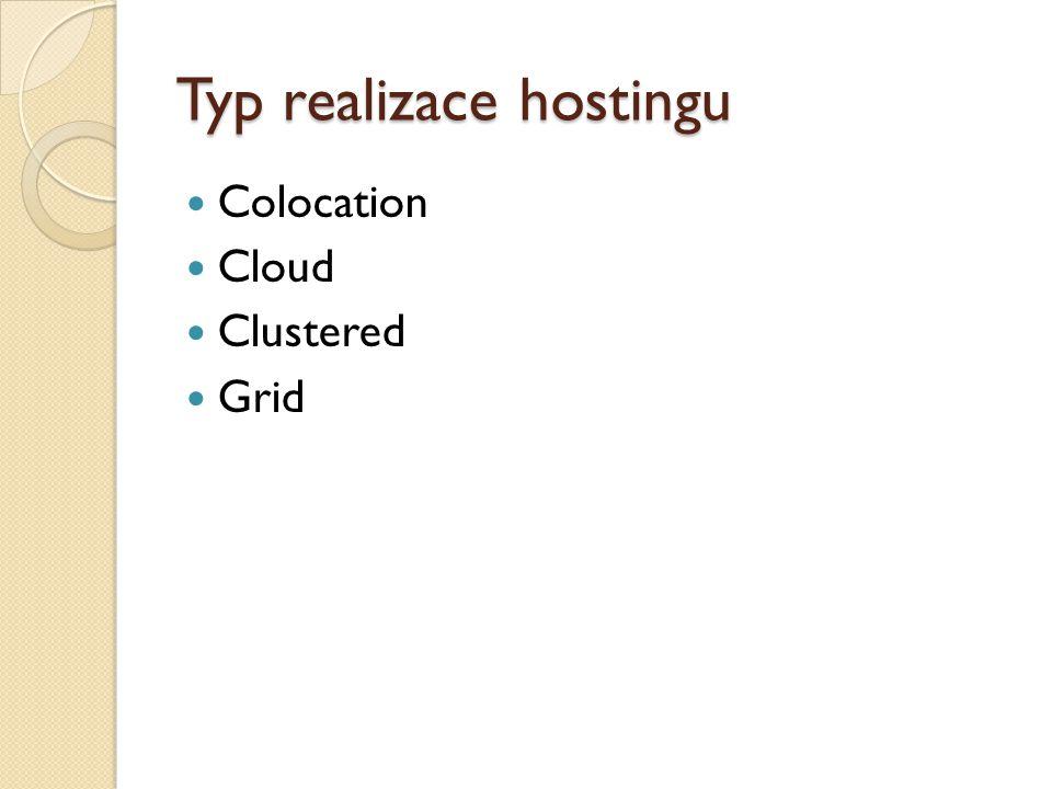 Typ realizace hostingu Colocation Cloud Clustered Grid