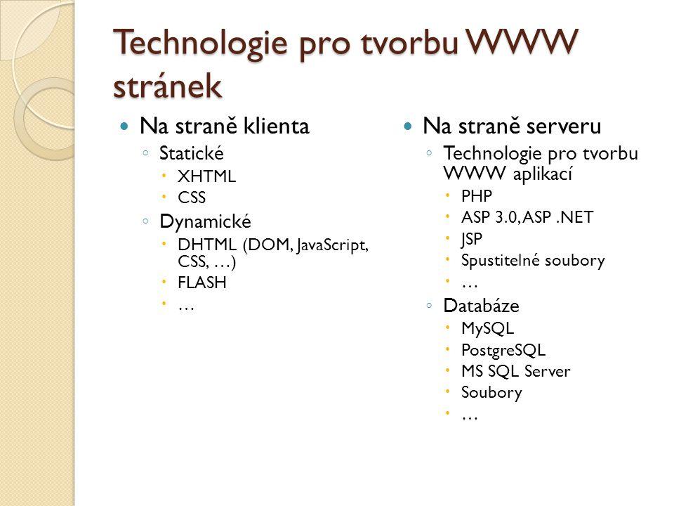 Technologie pro tvorbu WWW stránek Na straně klienta ◦ Statické  XHTML  CSS ◦ Dynamické  DHTML (DOM, JavaScript, CSS, …)  FLASH  … Na straně serveru ◦ Technologie pro tvorbu WWW aplikací  PHP  ASP 3.0, ASP.NET  JSP  Spustitelné soubory  … ◦ Databáze  MySQL  PostgreSQL  MS SQL Server  Soubory  …
