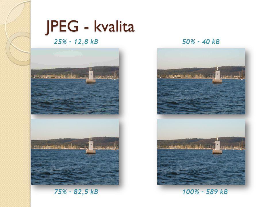 JPEG - kvalita 25% - 12,8 kB50% - 40 kB 75% - 82,5 kB100% - 589 kB