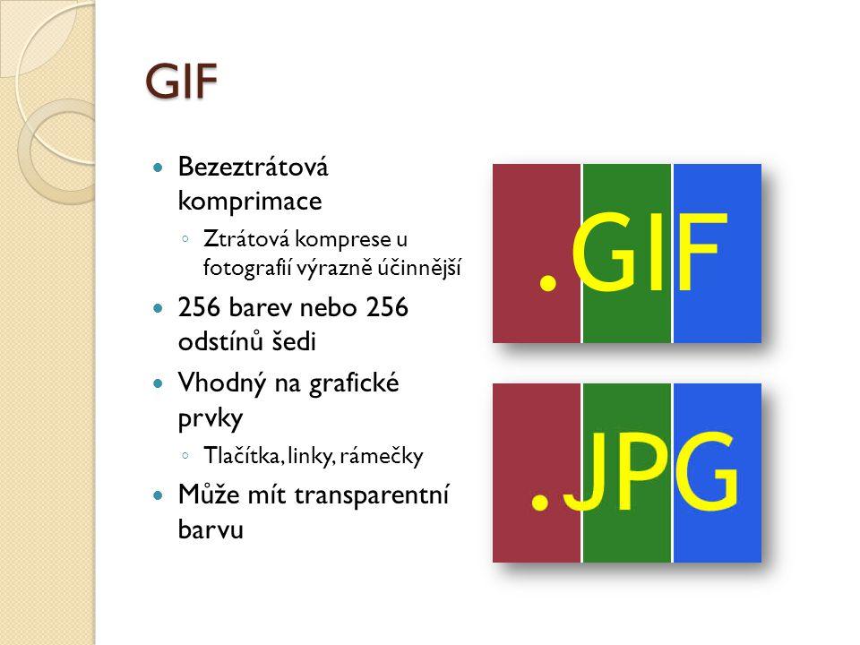 GIF Bezeztrátová komprimace ◦ Ztrátová komprese u fotografií výrazně účinnější 256 barev nebo 256 odstínů šedi Vhodný na grafické prvky ◦ Tlačítka, linky, rámečky Může mít transparentní barvu