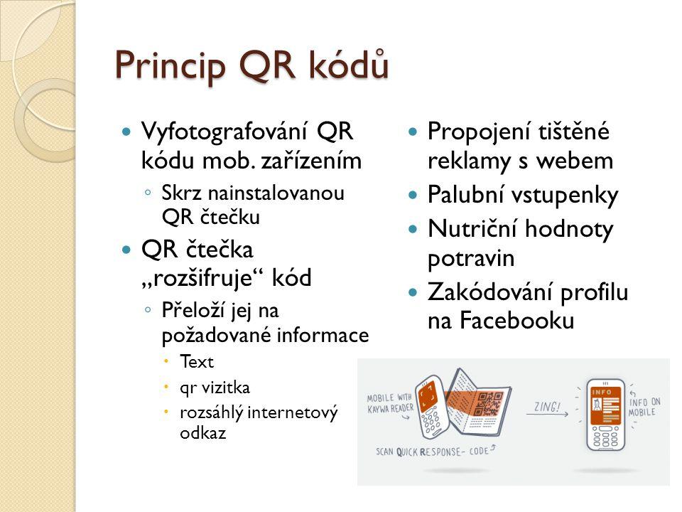 """Princip QR kódů Vyfotografování QR kódu mob. zařízením ◦ Skrz nainstalovanou QR čtečku QR čtečka """"rozšifruje"""" kód ◦ Přeloží jej na požadované informac"""