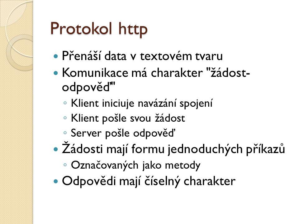 Protokol http Přenáší data v textovém tvaru Komunikace má charakter žádost- odpověď ◦ Klient iniciuje navázání spojení ◦ Klient pošle svou žádost ◦ Server pošle odpověď Žádosti mají formu jednoduchých příkazů ◦ Označovaných jako metody Odpovědi mají číselný charakter