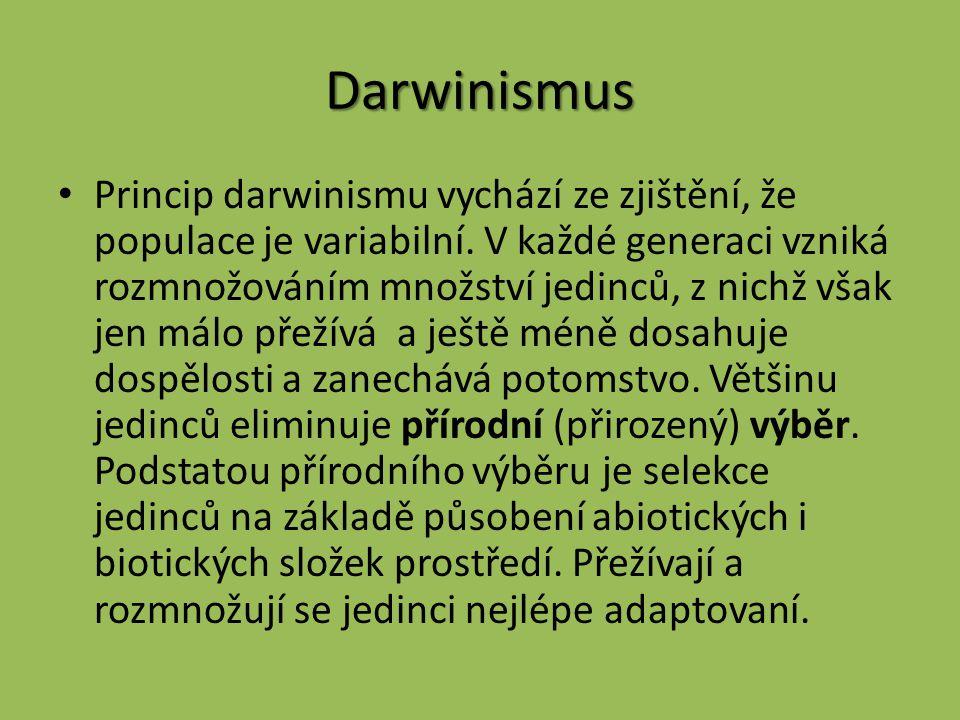 Darwinismus Princip darwinismu vychází ze zjištění, že populace je variabilní.