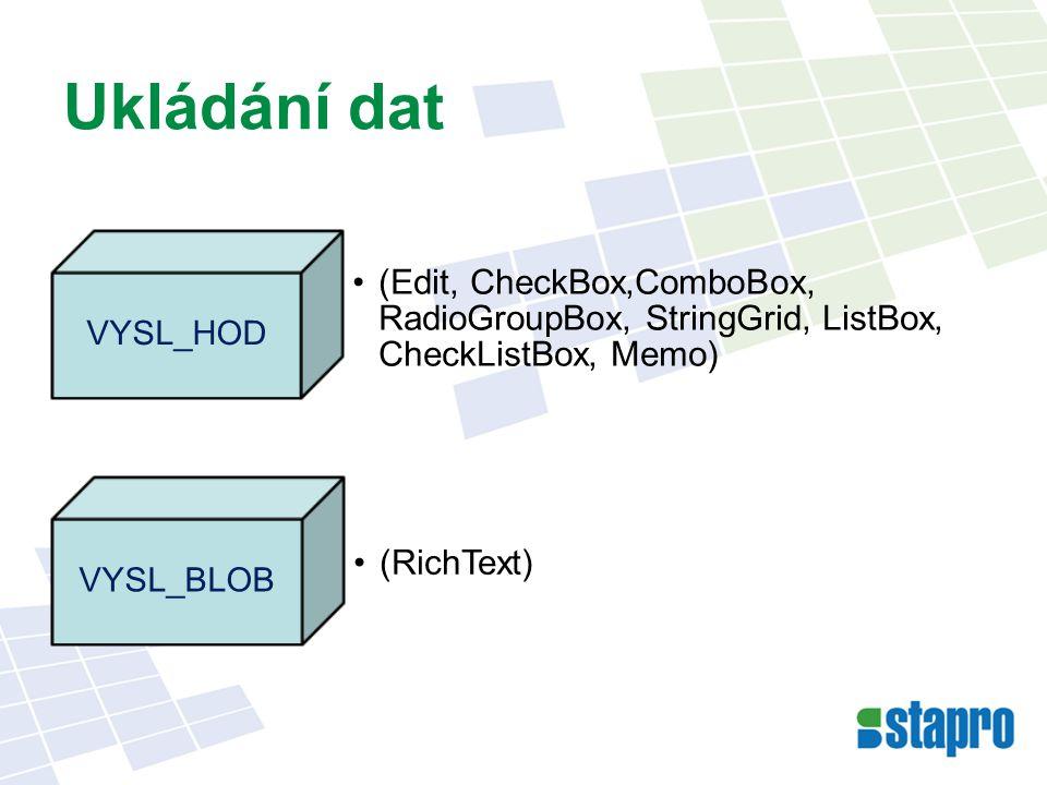 Ukládání dat (Edit, CheckBox,ComboBox, RadioGroupBox, StringGrid, ListBox, CheckListBox, Memo) VYSL_HOD (RichText) VYSL_BLOB