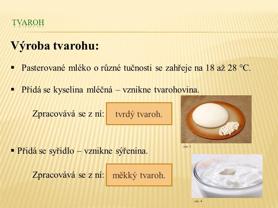  Pasterované mléko o různé tučnosti se zahřeje na 18 až 28 °C.  Přidá se kyselina mléčná – vznikne tvarohovina.  Přidá se syřidlo – vznikne sýřenin