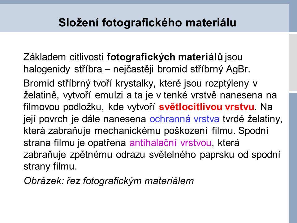 Složení fotografického materiálu Základem citlivosti fotografických materiálů jsou halogenidy stříbra – nejčastěji bromid stříbrný AgBr. Bromid stříbr