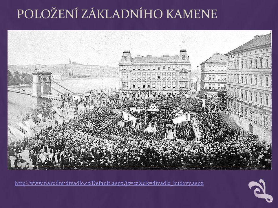 POLOŽENÍ ZÁKLADNÍHO KAMENE http://www.narodni-divadlo.cz/Default.aspx?jz=cz&dk=divadlo_budovy.aspx