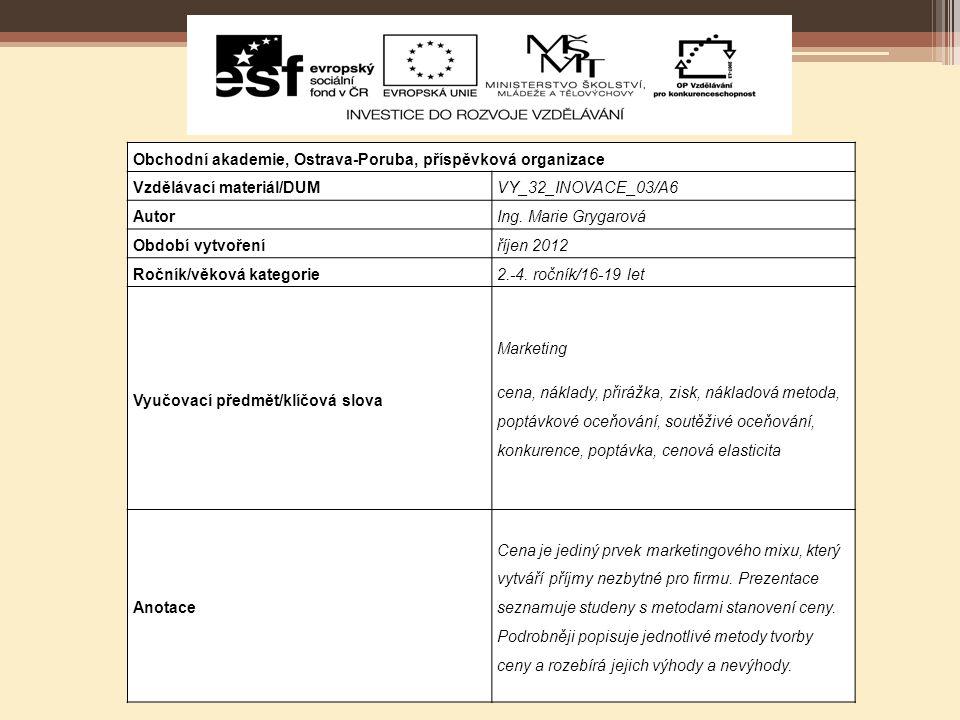 Metody stanovení ceny Autorem materiálu a všech jeho částí, není-li uvedeno jinak, je Ing.