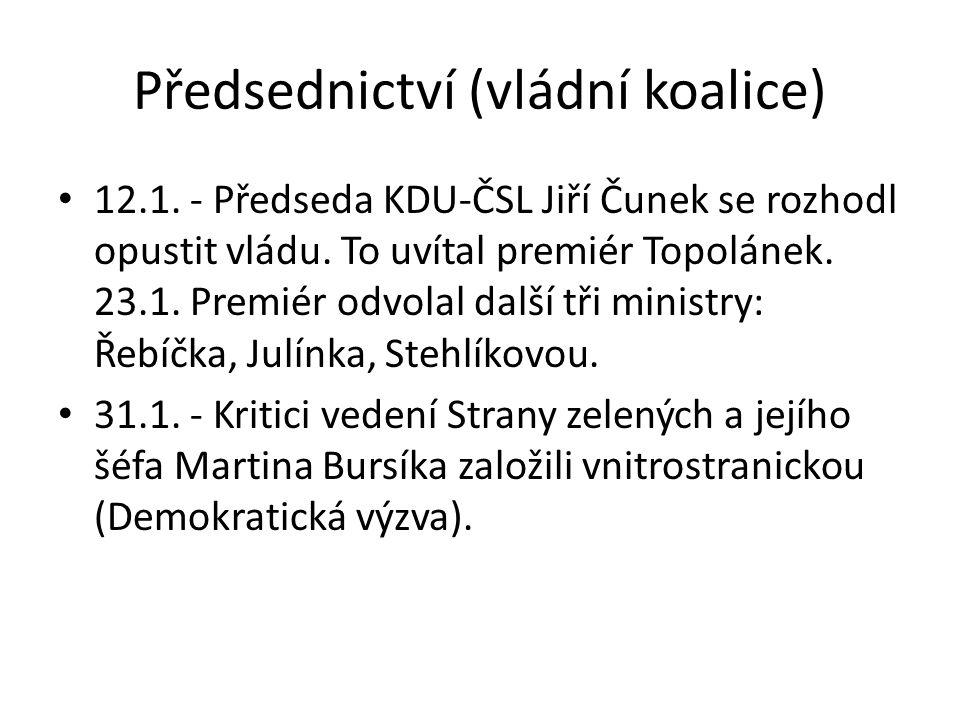 Předsednictví (vládní koalice) 12.1. - Předseda KDU-ČSL Jiří Čunek se rozhodl opustit vládu. To uvítal premiér Topolánek. 23.1. Premiér odvolal další