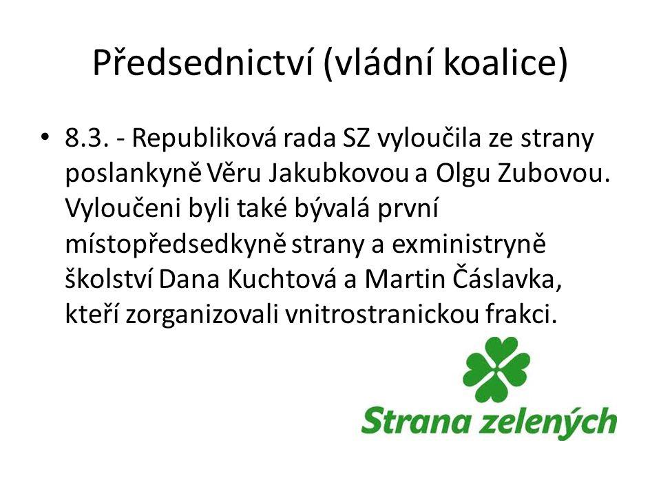 Předsednictví (vládní koalice) 8.3. - Republiková rada SZ vyloučila ze strany poslankyně Věru Jakubkovou a Olgu Zubovou. Vyloučeni byli také bývalá pr