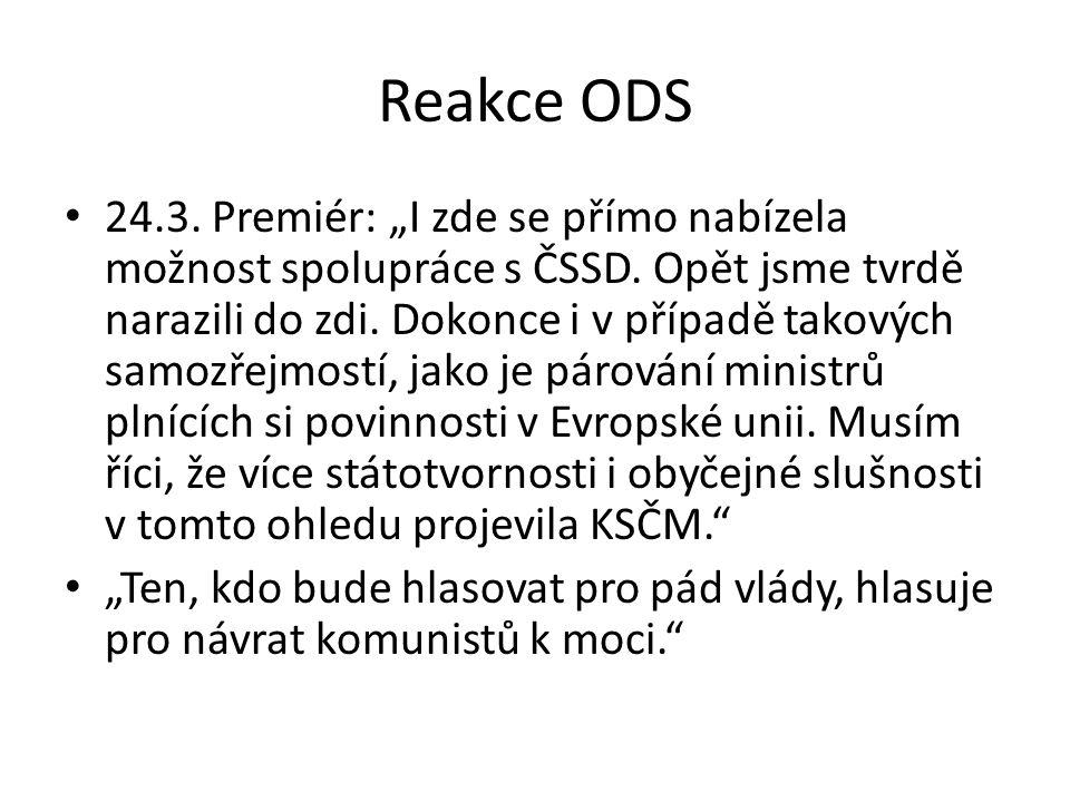 """Reakce ODS 24.3. Premiér: """"I zde se přímo nabízela možnost spolupráce s ČSSD."""